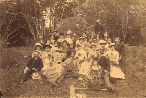 1888 - Port P334 - [Church picnic at Lynn Valley]  Group portrait showing Miss Sentell, J.H. Carlisle, Miss Slade (Mrs. F.W. Sentell), F.W. Sentell, Mr. Beckett, Mr. Hooper and others