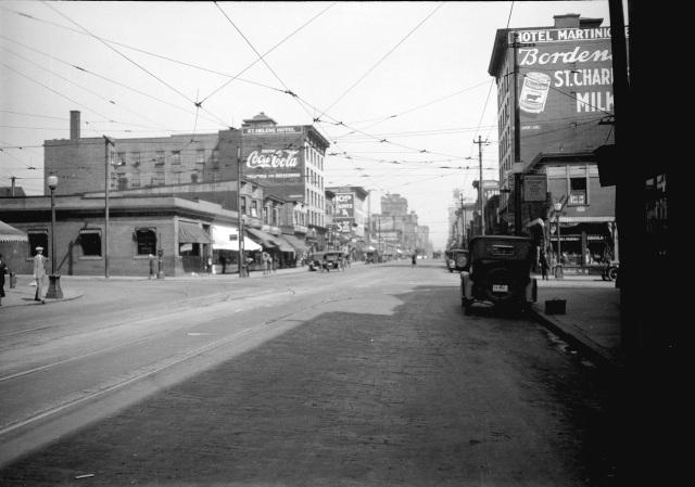 CVA 99-2273 [Taken for Duker and Shaw Billboards Ltd Granville Street looking north from Davie Street], ca 1926. Stuart Thomson photo.