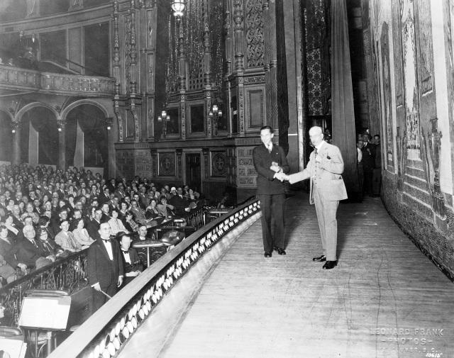 CVA 371-249 - [Mayor L.D. Taylor congratulates Percy Williams on the stage of the Vancouver Opera House] 1928 Frank Leonard