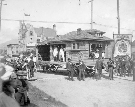 1903 Fl P2 - [The Amalgamated Society of Carpenters and Joiners with their Labour Day parade float at Seymour Street and Dunsmuir Street] Alfred A Paull