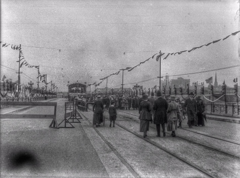 ca 1918 CVA 260-1050 - [The Georgia Viaduct decorated and closed to vehicular traffic during a carnival] J Crookall