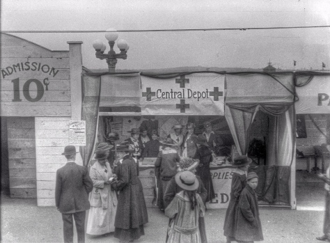 ca1918 CVA 260-1048 - [A Red Cross booth at a wartime carnival at the Cambie Street Grounds] J Crookall