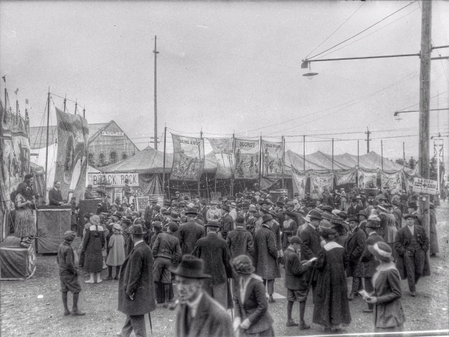 ca1918 CVA 260-1052 - [Sideshows at a wartime carnival on the Cambie Street Grounds] J Crookall