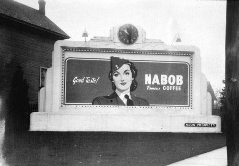 1940-48 CVA 1184-916 - [Neon products billboard for Nabob coffee] Jack Lindsay copy