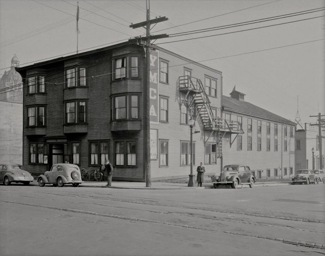 CVA BuN151: YMCA Building at northeast corner of Cambie and Dunsmuir, 1941.