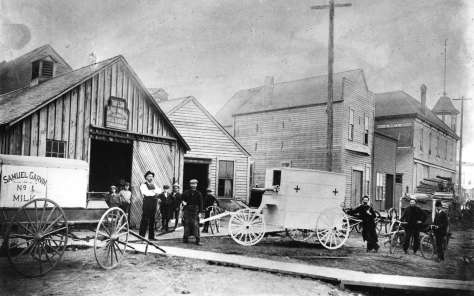 ca1897 Trans P181 - [The first ambulance built by Thomas Lobb in front of his blacksmith business on Westminster Road (Kingsway) near Westminster Avenue (Main Street)]