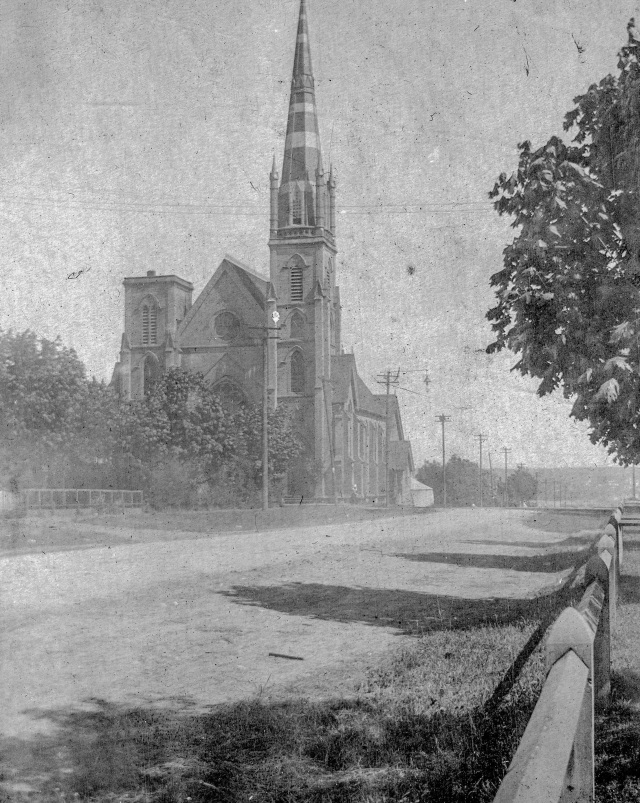 CVA Str P208: St Andrew's Presbyterian Church on northeast corner Georgia and Richards, 1899.