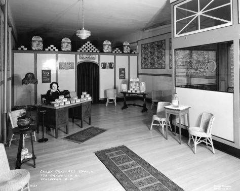 CVA 99-4309 Crazy Crystals office 779 Granville St, 1933. Stuart Thomson photo.