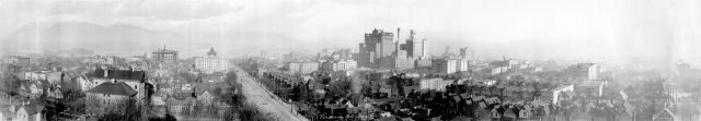 "CVA Pan P60 - ""View of Downtown from Burrard Street and Nelson Street,"" 1922."