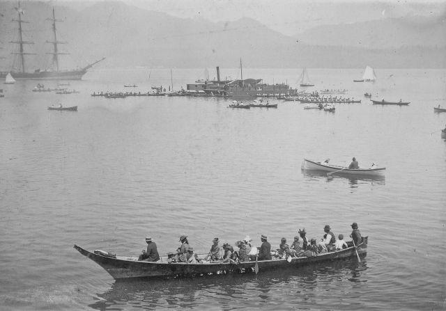 "CVA InP16 - ""First Nations War Canoe Race in Burrard Inlet"", Bailey Bros photo, ca 1890."