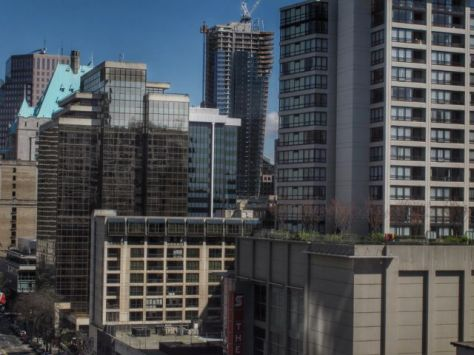 View from the Tower of First Baptist Church at the NW Corner, Burrard & Nelson, ca 2012.