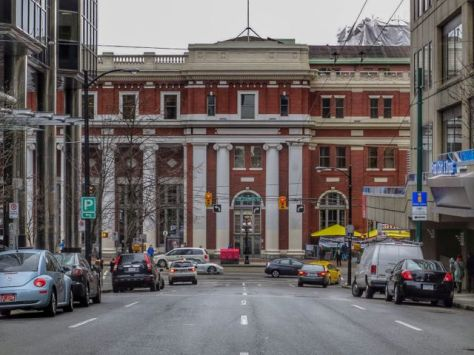Looking north on Seymour St. at Hastings toward Waterfront Station. Author's photo. 2014.