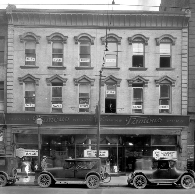 Bu N295 - [623 West Hastings Street, Famous Cloak and Suit Company, Ltd.], 1927,  WJ Moore photo.