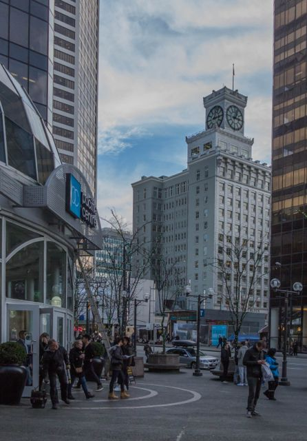 View from the seating area nearby the Pacific Centre entrance on Georgia at Hornby. 2015. Author's photo.