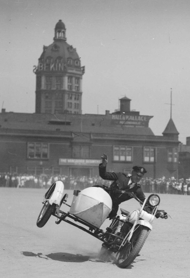 Detail/crop of CVA 99-2793 - [Law enforcer, motorcycle stunt driving, Cambie grounds], CA1928. S Thomspon photo.