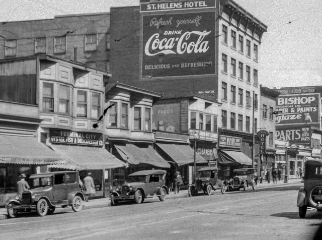 Detail of CVA 99-4505 - [Granville Street looking north from Davie Street, ca1928. S Thomson photo.