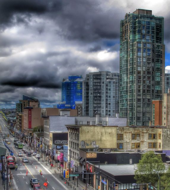 Looking south up Granville Street downtown from the roof of an SRO near Granville and Nelson. 2013, Author's photo.