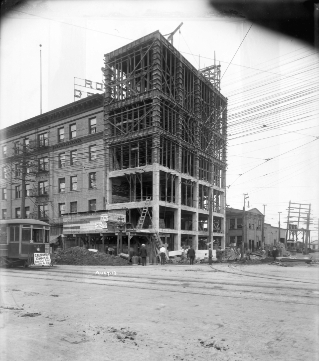 CVA: LGN 948 - [Construction of Men's Quarters for B.C. Electric Railway Company conductors and motormen, located at Main and Prior Streets], 1913.