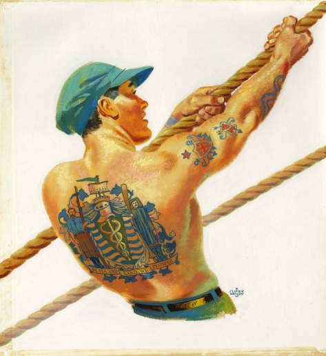 """CVA: 72-633 - Tattooed man pulling on rope. Painting by Charles """"Clixby"""" Watson. 195-."""