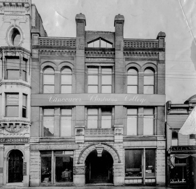 CVA Bu P491 - [Exterior of Vancouver Business College Ltd. - 147 W. Hastings Street]. ca1904.
