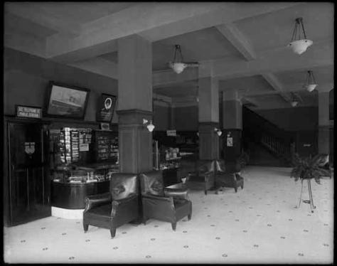 Vpl 20019 Lobby and registration desk of the St. Regis Hotel. 1915. Dominion Photo.
