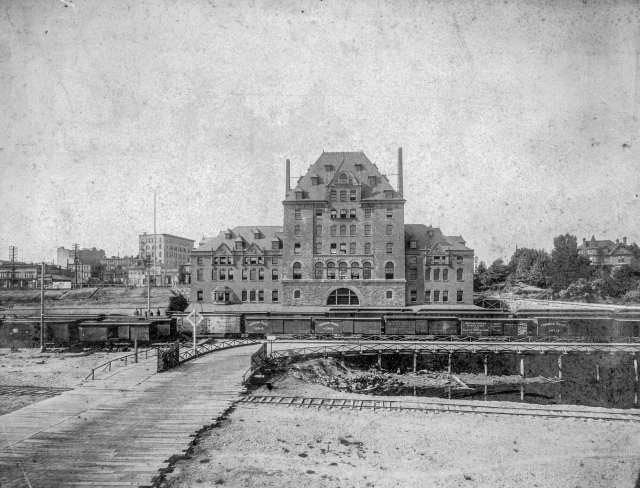 CVA 371-882 - [View of the rear of the second C.P.R. Station at the foot of Granville Street], ca 1900.