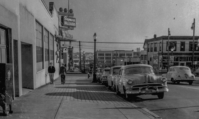 CVA 772-19 – [Seymour St. at Nelson St., looking east], 1961