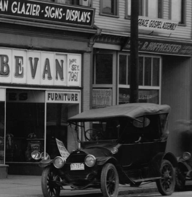 Detail of CVA 99-4806 - [Store fronts showing 1271 to 1295 Granville Street] ca 1935. Stuart Thomson photo