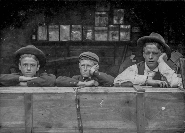 CVA 677-813 - [Three boys at fence, including] Wm. Hood and Eddie Goddard. 1891. A. Savard photo.