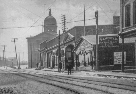 CVA 371-2098 - [Looking north on Cambie Street towards the Court House], ca1900.