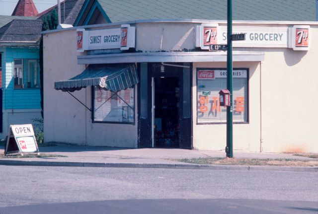 CVA 780-238 - [Sunkist Grocery at 1101 East 13th Avenue] Corner East 13th and Glen Drive, Aug 1978.