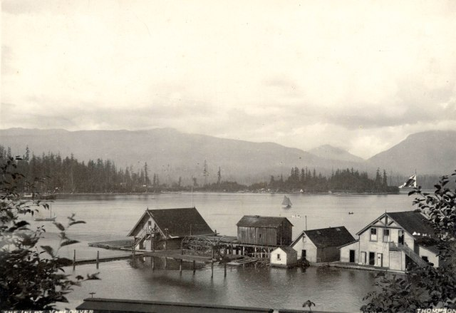 CVA: Bu P194 - The Inlet, Vancouver [showing the Vancouver Rowing Club buildings], 1889. (S. J.) Thompson photo.