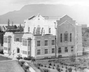 Bu P676 - [Exterior of Main Library at the University of British Columbia]. 1932. P. T. Timms photo. Note:  ATC appears above Main Library and to the left of the image.