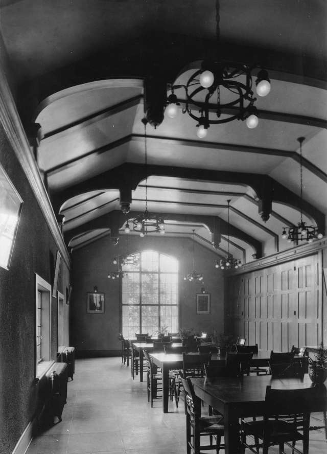 CVA 677-742 - Dining hall, Anglican College, Vancouver, B.C. 1929. P. T. Timms photo.