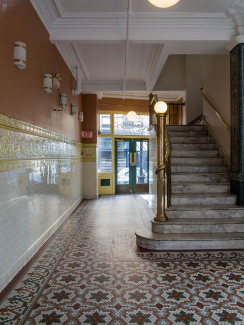 Lobby of the former Hotel Europe building, looking from the Powell Street door (instead of from the Alexander Street side, as Photographer Grice appears to have done in the previous image). 2015. Author's photos.
