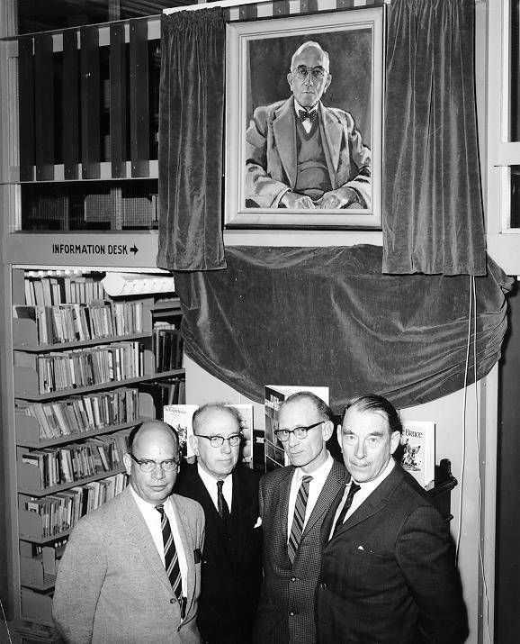 UBC Archives. Main Library - Akrigg, G. Philip V.; Eagles, Blythe Alfred; Robbins, William; Daniells, Roy. 1965, College library renamed Sedgewick Library.