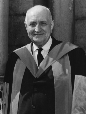 The first Sedgewick Memorial Lecture was delivered by A. S. P. Woodhouse in 1954. U of Toronto Archives, 2005-62-2MS.