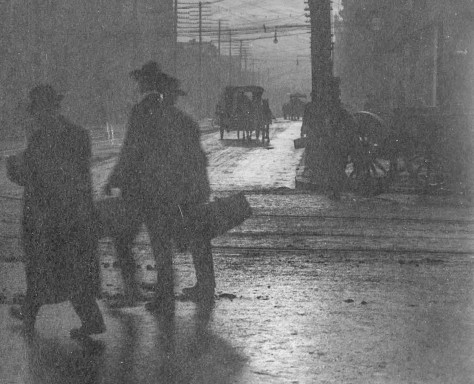 Amended and Cropped Version of CVA 677-538 - View of Street at Sunset (Original Mount specifies location and date as-