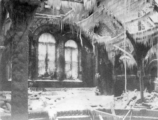 CVA 1376-666 - [Interior of First Baptist Church at Nelson Street and Burrard Street after the fire], 1931.CVA 1376-666 - [Interior of First Baptist Church at Nelson Street and Burrard Street after the fire]. The water from the hoses of firefighters frozen onto the remains of the sanctuary. February, 1931.