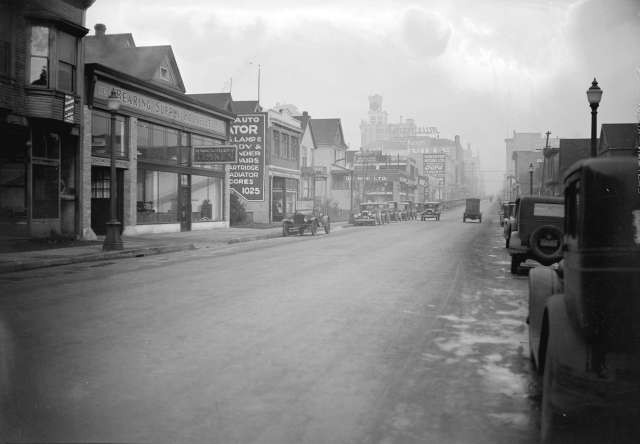 CVA 99-2251 - Taken for Duker and Shaw Billboards Ltd. [1000 block Seymour Street between Helmcken and Nelson looking north] ca 1926 Stuart Thomson photo.