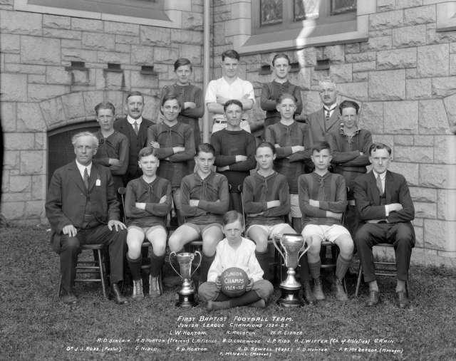 CVA 99-3593 - First Baptist (Church) Football Team - Junior League Champions 1924-25. 1925. Stuart Thomson photo.
