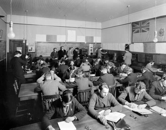 CVA 99-3806 - Telegraphy Department - King Edward High School 1930 Stuart Thomson photo. Note: I don't seen any girls in this class. Perhaps girls weren't warmly welcomed into this sort of class. Perhaps it was similar to the environment in