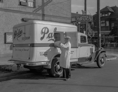 CVA 99-4448 - Palm Ice Cream Truck [and driver at 1190 Bute Street making a delivery] ca 1935. Stuart Thomson photo.