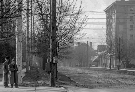 Detail of LGN 1010 - [View of Burrard Street, looking south from Georgia Street]. 1914. BCER photo.