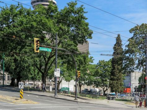 Looking northwest at corner of Cambie and Pender Streets (looking at Victory Square). 2015. Author's photo.