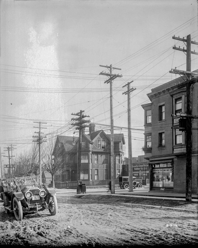 LGN 1236 - [View of northeast corner of Pender and Burrard Streets] 1914. BCER photo,