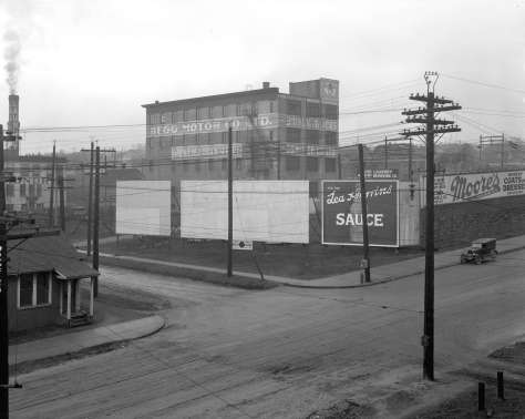 Str N43 - [Billboards and buildings on the] corner [of] Beach and Granville 1926?  WJ Moore photo.