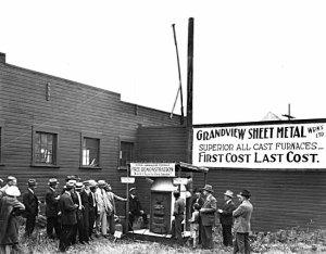 VPL 11530. Grandview Sheet Metal Works, Ltd. at 1739 Venables St.  Demonstration of Smokeless Furnace. 1926. Frank Leonard photo