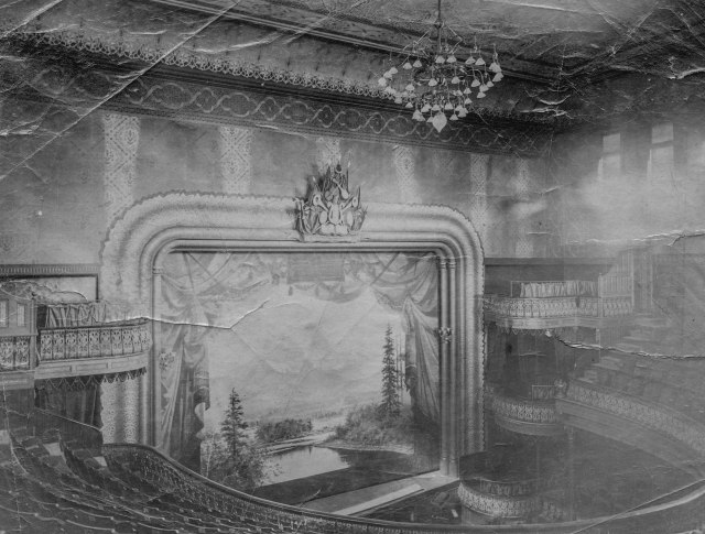 CVA - Bu P7 - [Interior of the Vancouver Opera House - 733 Granville St.] ca 1891 (Note: The original image at CVA has been modified here by cropping out tears and missing parts of original image as well as making the yellowed original into a b/w image).
