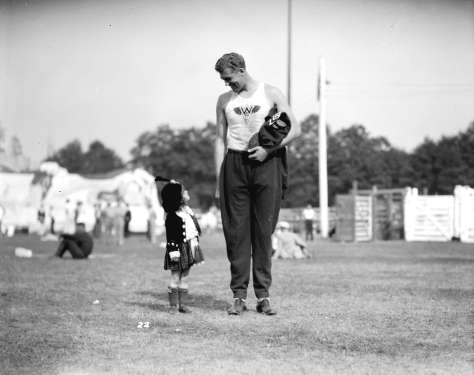 CVA 99-2096 - Caledonian Games, Hastings Park  (Note the discus in the hand of the contestant). 1930. Stuart Thomson photo